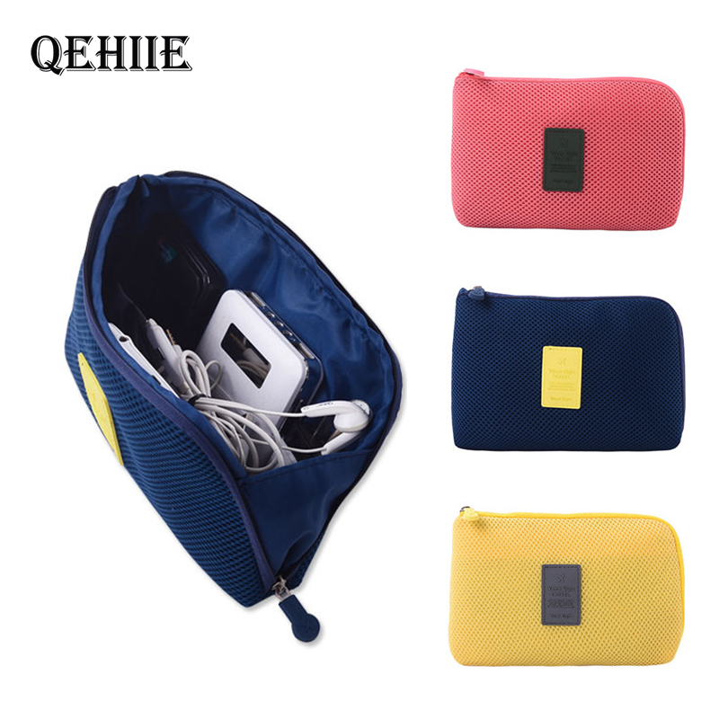 QEHIIE Cute Travel Accessories Organizer USB Packing Bags Viaje Digital Shockproof Bag Makeup Data Line Charger Protective Cover