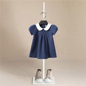 Детское Роскошное однотонное хлопковое летнее платье для девочек, вечерние и свадебные Брендовые платья для маленьких девочек милые плать...