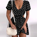 Summer Women Dresses 2021 Dot Print Sexy Deep V-Neck Mini Dress Tie Tunic Backless Sundress Short Sleeve Chiffon Dress Vestidos