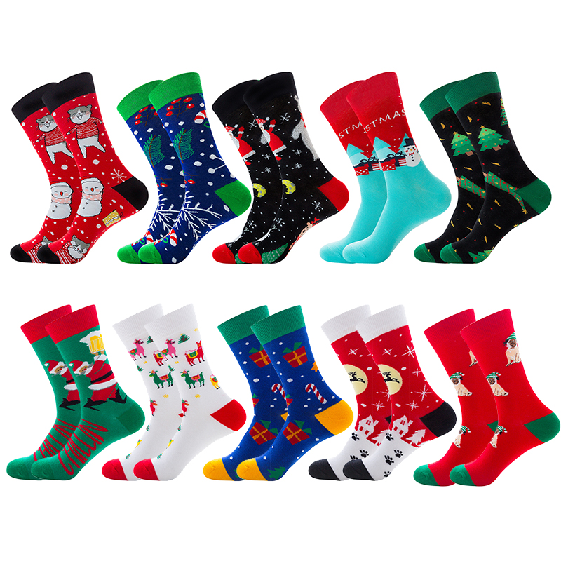 Merry Christmas Happy Socks Men Cotton Funny Crew Socks Women Personality Painting Embroidery Santa Christmas Tree Reindeer