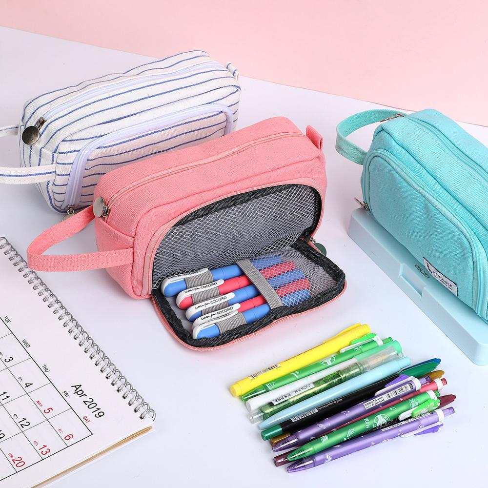 Stripe Pencil Case Solid Color School Supplies Trousse Scolaire Stylo Double Layer Estuches Kawaii Kalem Kutusu Astuccio Scuola