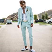 2019 ชายชุดสูทเสื้อ + กางเกง Custom made ตรงปุ่ม blazer masculino colortul l made ชุดสำหรับงานแต่งงานชุด