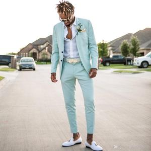 Image 1 - 2019 men suits jacket +pants Custom made costume Straight buttom blazer masculino colortul l made suits for wedding party  suits