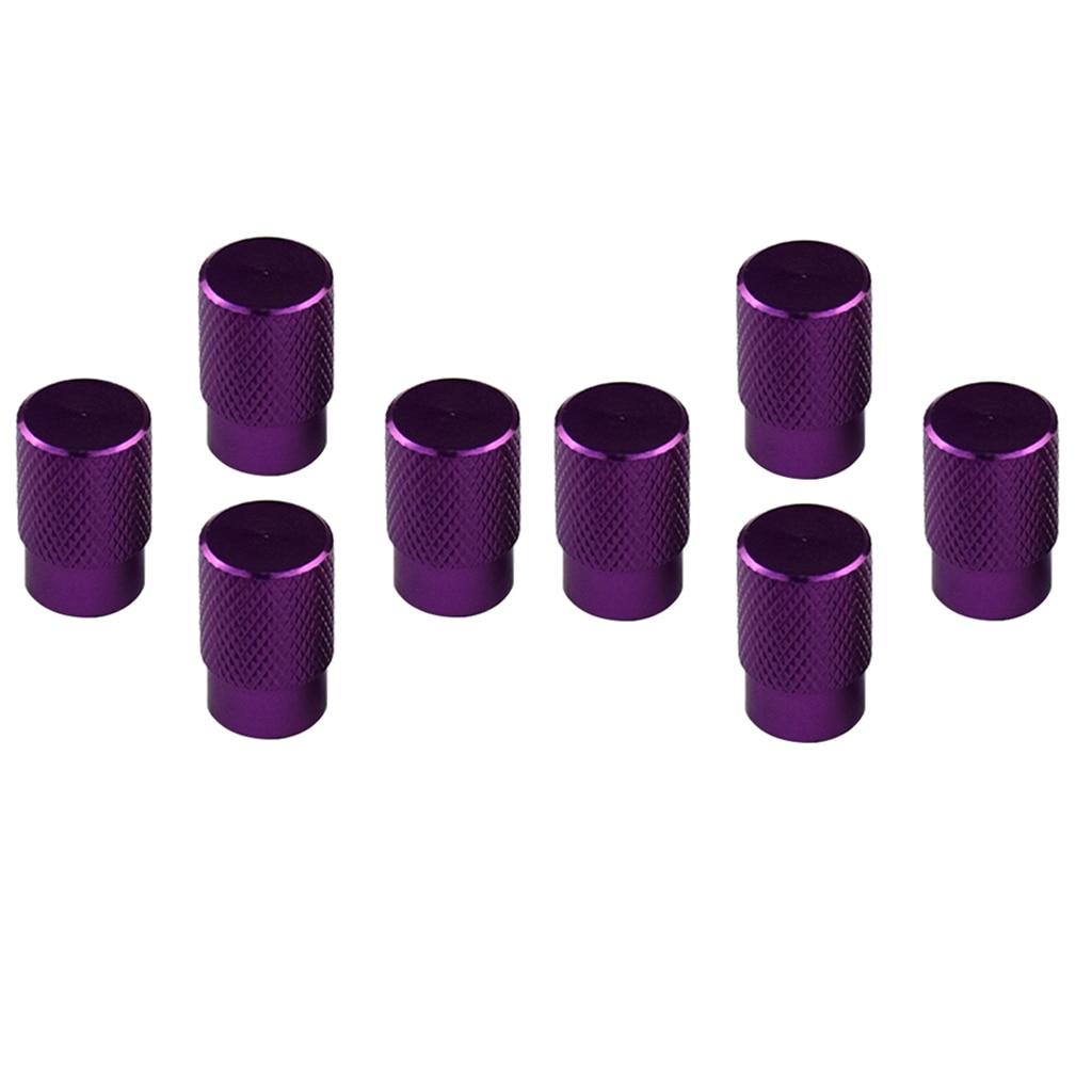 8 Set Aluminum Alloy Car Tubeless Wheel Tire Valve Stems Dust Caps Purple