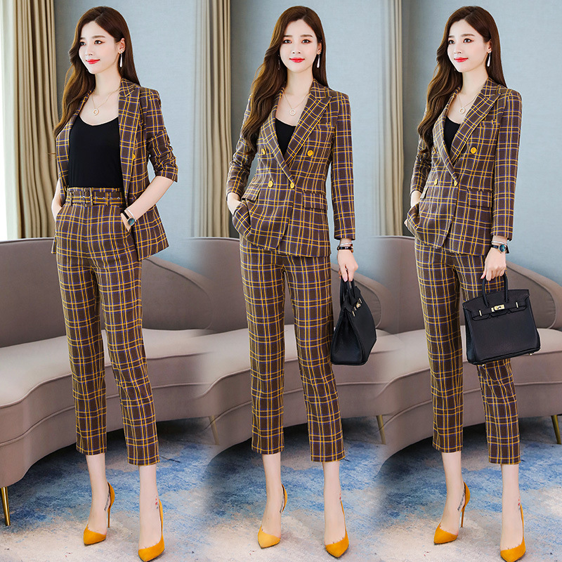 High quality professional women's suits New autumn slim long-sleeved plaid ladies jacket Casual office trouser suit Two-piece 29
