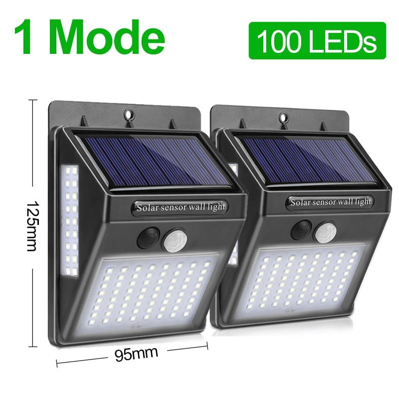 100 светодиодный светильник на солнечной батарее, садовая Солнечная лампа, PIR датчик движения, солнечный светильник, водонепроницаемый светильник для наружной стены, уличного украшения - Испускаемый цвет: 2 Pieces 1 Modes
