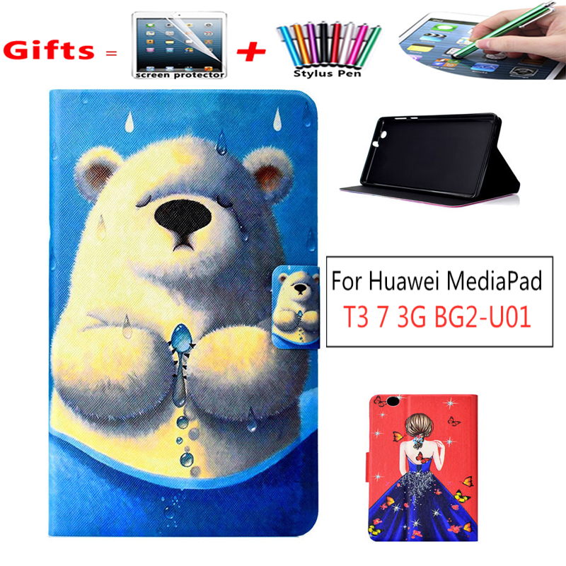 Slim  Folding Case Cover For Huawei MediaPad T3 7.0 3G BG2-U01 Protective Case For Huawei MediaPad T3 7 3G Case