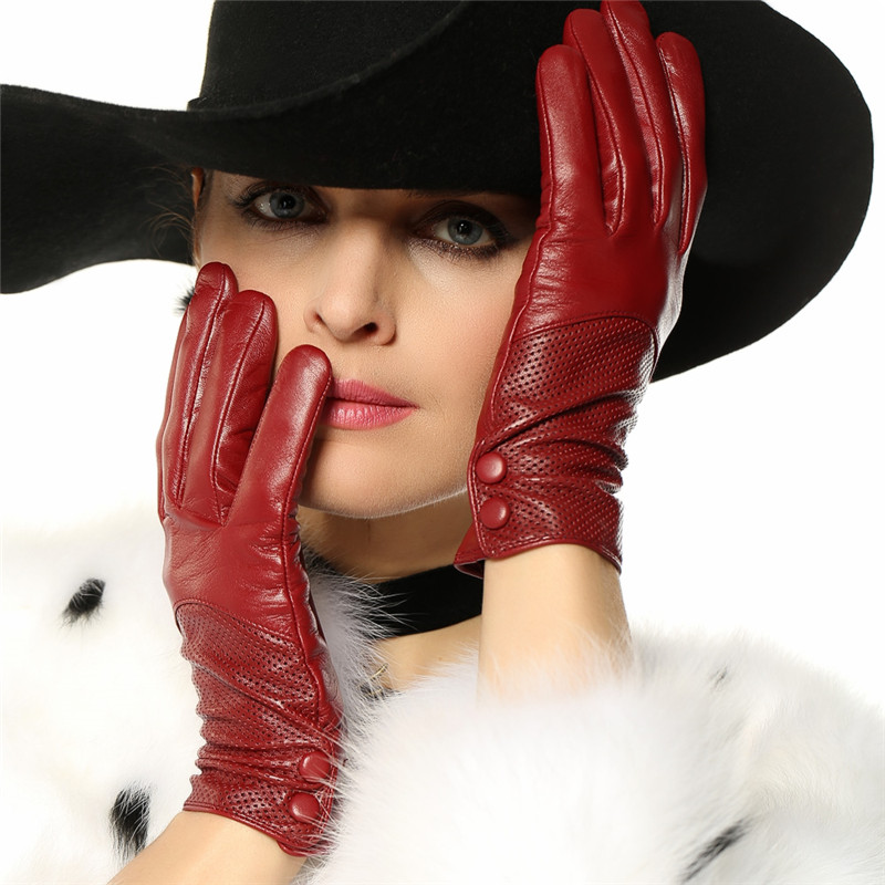 Real Leather Gloves Female Spring Autumn Thin Breathable Genuine Leather Sheepskin Woman's Gloves For Driving L090NN-1