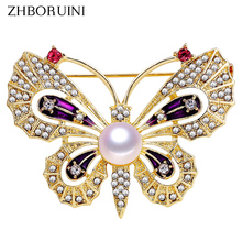 ZHBORUINI 2019 High Quality Natural Freshwater Pearl Brooch Butterfly Gold Color Jewelry For Women Gift