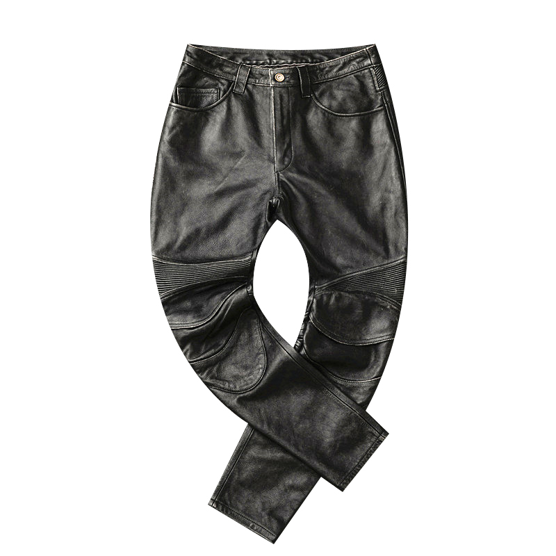 Free shipping,2019 brand men new leather long pants Additive protector.vintage pro motor biker genuine leather trousers.plusLeather Pants   -