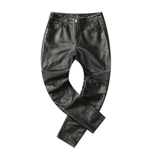 Free shipping,2019 brand men new leather long pants Additive protector.vintage pro motor biker genuine leather trousers.plus