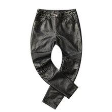 Gratis verzending, 2019 merk mannen nieuwe lederen lange broek Additief protector. vintage pro motor biker lederen broek. plus