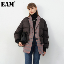 Fit Coat Women Parkas Plaid Big-Size Winter EAM Cotton-Padded Black Thick Fashion New