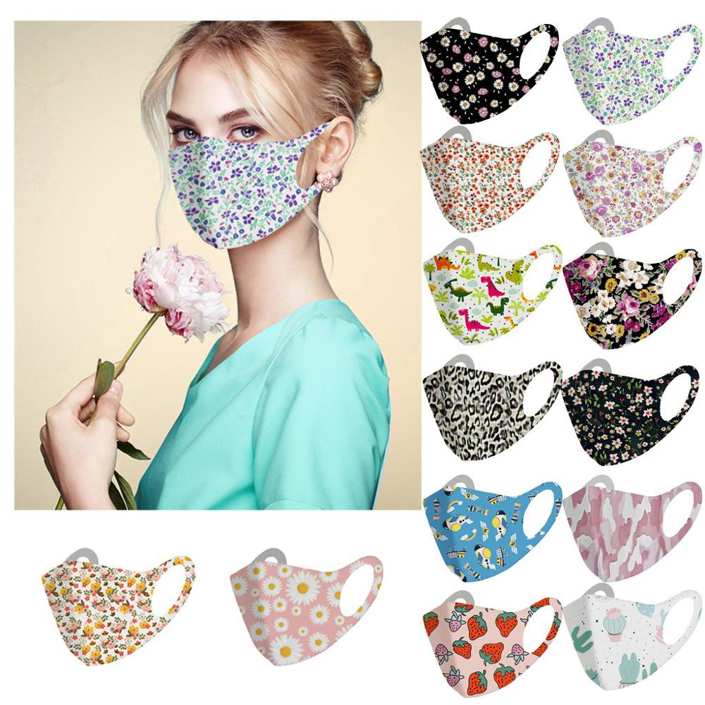 Fashionable Flowers Pattern Face Mask For Adults Lady Printed Dust Girl's Face Masks Washable Reusable For Women Mouth Mask