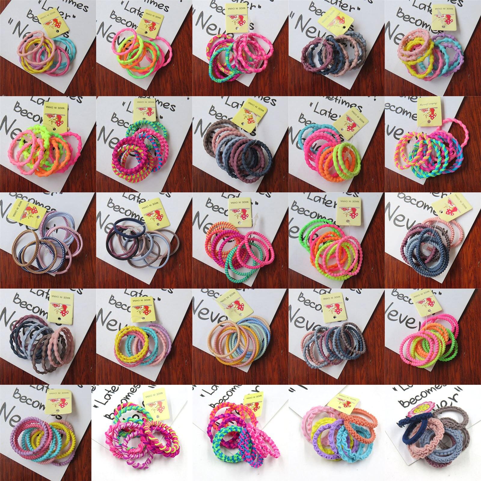 10PCS/1SET Pretty 3CM Colourful Elastic Hair Bands For Girls Handmade Hair Scrunchy Kids Creative Hair Accessories For Womens