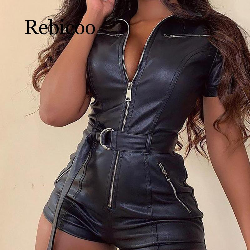 PU leather rompers womens   jumpsuit   Summer 2019 sashes zip up leather   jumpsuits   short Sexy black bodycon overalls Short   jumpsuit