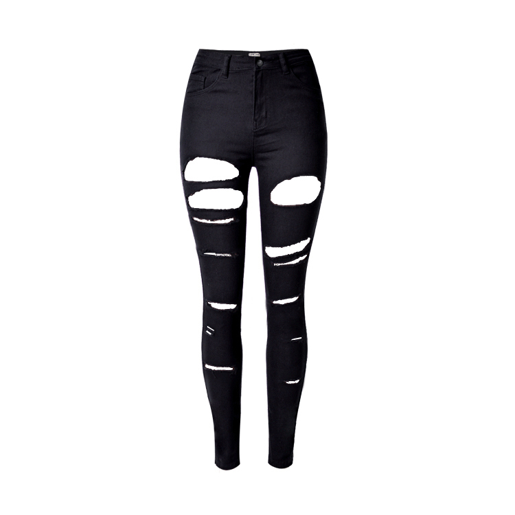 Skinny Jeans Denim Pants Ripped Black Mujer High-Waist Fashion Woman Hole for Oversize