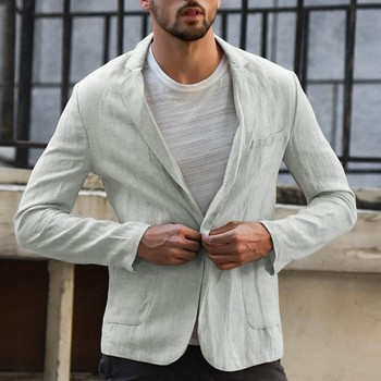 KLV пиджак мужской suit jacket Men's Slim Fit Linen Blend Pocket Solid Long Sleeve Suits Blazer Jacket Outwear free shipping D4
