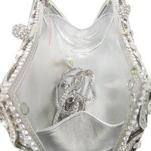 Image 5 - Boutique de fgg sparkling prata feminino cristal embreagem sacos de noite nupcial diamante embreagem bolsa festa casamento minaudiere bolsa