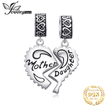 JewelryPalace Mother Daughter Grandmother Split Heart Beautiful Delicate 925 Sterling Silver Charm Fit Bracelets