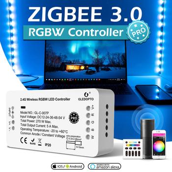 2021 ZigBee 3 0 kontroler LED Pro RGBCCT RGBW 5050 kontroler taśmy pilot APP praca z Echo Plus SmartThings H * U * E tanie i dobre opinie YSRSAI CN (pochodzenie) Voice APP Remote RGB+CCT RGBW 2years 270W LED strip 50-60HZ Voice control Smartphone APP Max 270W