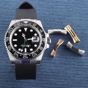 Image 2 - Yüksek kaliteli paslanmaz çelik sonu bağlantı Submaine Explorer GMT gün tona katma değerli kombinasyon kordonlu saat konnektörler araçları