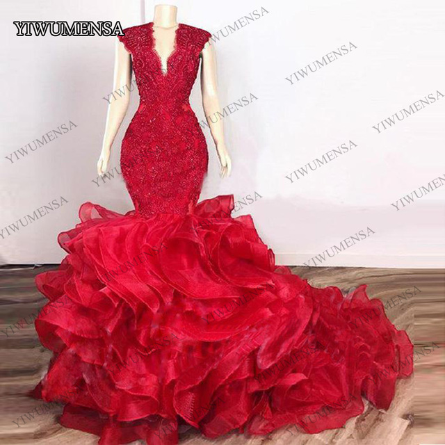 Dark Red Cascading Ruffles Mermaid Long Prom Dresses 2020 Lace Beaded Organza V neck Evening Gowns Party Dresses robes de soirée