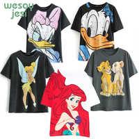 2019 t-shirt femmes angleterre style dessin animé Mickey graphique femmes court régulier Donald canard t-shirt haut pour Femme t-shirt Femme
