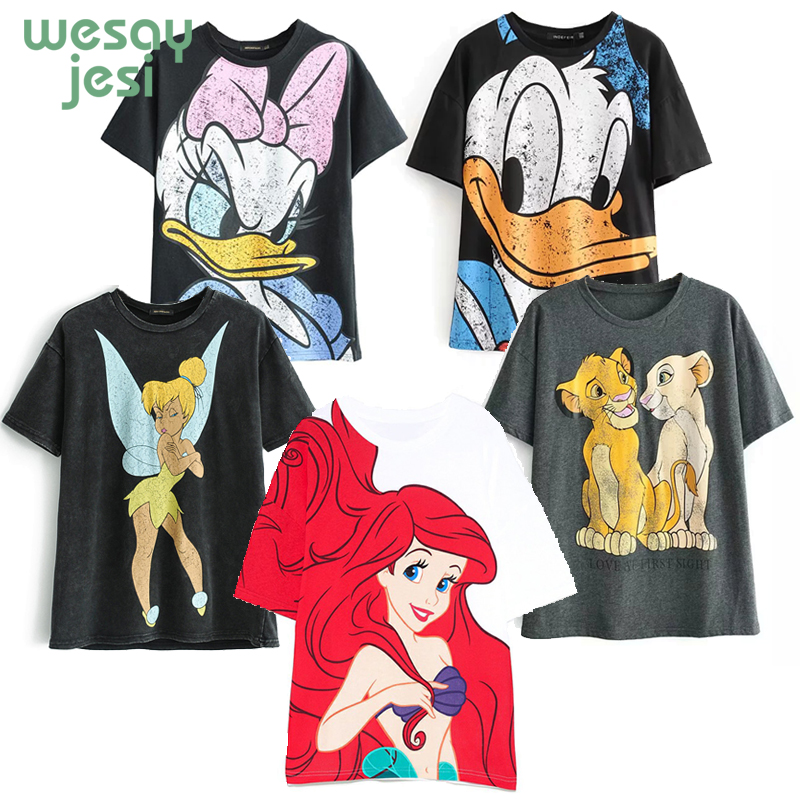 2020 T-shirt Women Lion King Cartoon Mickey Graphic Women Short Regular T Shirt Women Tops Tee Shirt Femme