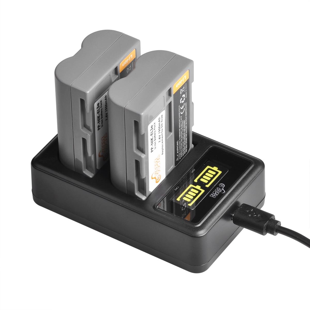 1900mAh EN-EL3E EN EL3e batterie + LED double chargeur pour Nikon D50, D70, D70s, D80, D90, D100, D200, D300, D300S, D700