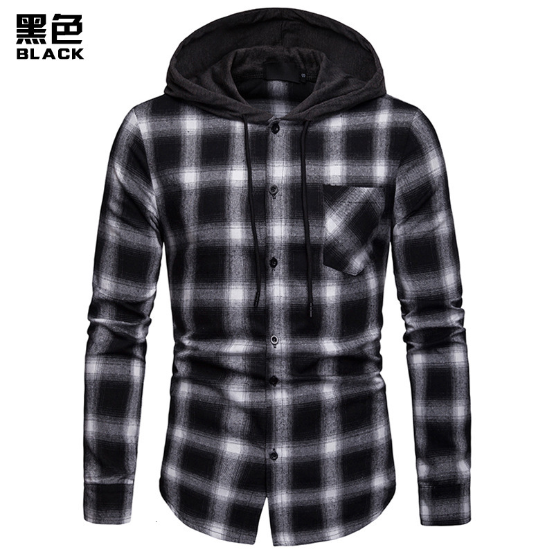Men Plaid Shirts New Fashion Korean Wild Long Sleeve Flannel Hooded Shirt Casual Slim Fit Plus Size Cotton Men Clothes Red - 3