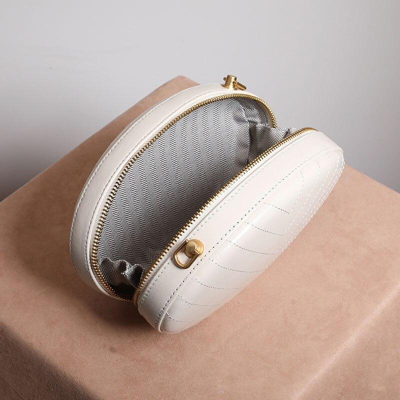 ZURICHOUSE Merk Kleine Ronde Tas Voor Vrouwen 2019 Luxe Echt Lederen Handtassen Dames Quilted Chain Schouder Crossbody Tassen - 4