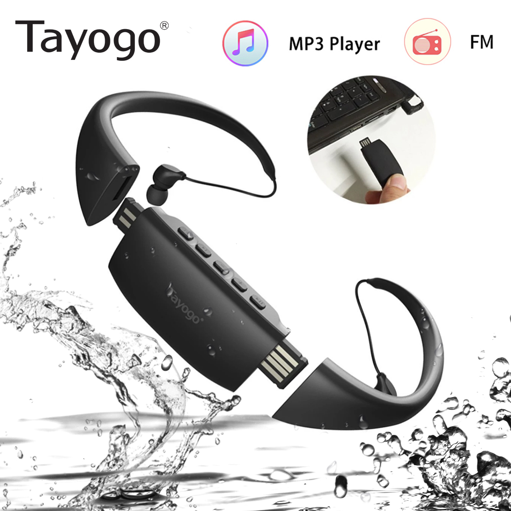 Tayogo 8GB MP3 Headphone Waterproof Swimming Sport MP3 Music Player Neckband Stereo Earphone Audio Headset With FM For Diving