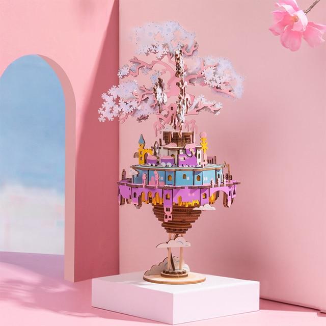 1pcs Diy Assembly Toys Kids Movable Castle Model 3D Puzzle Tpy Wooden Music Box Craft Kit Birthdaty Gifts 2020