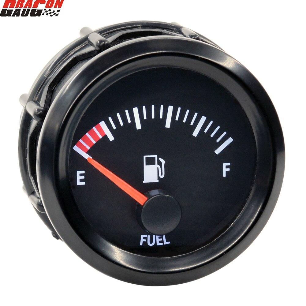 Dragon 52mm Auto Car Stepper Motor Fuel Level Gauge With Sensor White LED Ligh Automotive Clocks Meter
