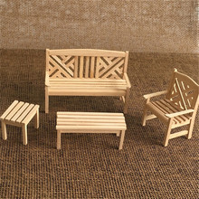 HIINST mini doll house 4pcs set furniture model outdoor garden wooden beach chairs Fairy Garden Accessory Toys for children 2020 cheap Unisex 0000 1 12 3 years old Furniture Toys Set baby girl toys miniature furniture dollhouse miniature 1 12 poppenhuis meubels