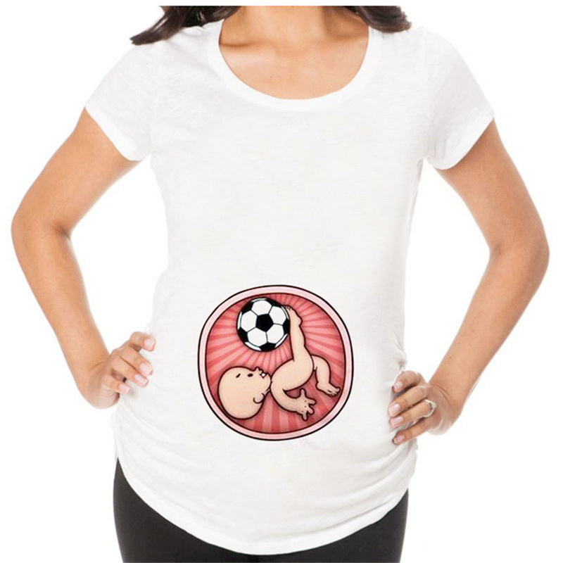 Dreamlikelin Funny Female Plus Size T-shirt Baby Playing Soccer Print Maternity Top Pregnancy Clothes Summer T Shirt