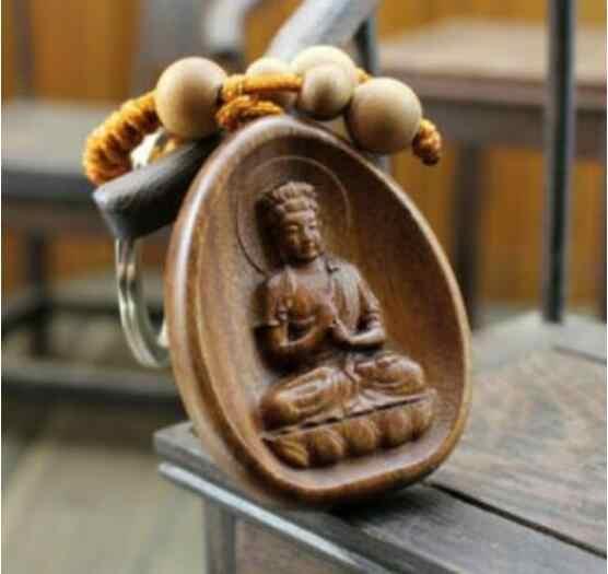 Patung Kayu Diukir Cina dari Kwan Yin Patung Buddha Liontin Gantungan Kunci