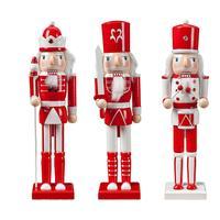 3PCS/Set Christmas Wooden Nutcracker Soldier Jewelry 38CM Puppet Toy Gift Children's Room Decoration Ornament