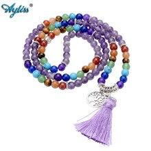 Ayliss Bracelets de perles 6mm, pierre en cristal naturelle de guérison, collier à pompon, prière bouddhiste tibétaine Mala 108 perles