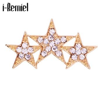 Broches de estrella de cinco puntas de moda Coreana de alta calidad, Pin de solapa, broche de cristal pentagonal, insignia, accesorios de aleación de Zinc para hombres