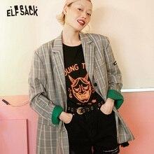 ELFSACK Vintage Plaid Women Blazers, 2019 jesień nowe pojedyncze piersi kobiece płaszcze casualowe moda luźne biuro odzież dla kobiet