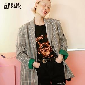 Image 1 - ELFSACK Vintage Plaid mujer Blazers, 2019 otoño nuevo solo Breasted mujer Casual abrigos moda suelta Oficina señora ropa