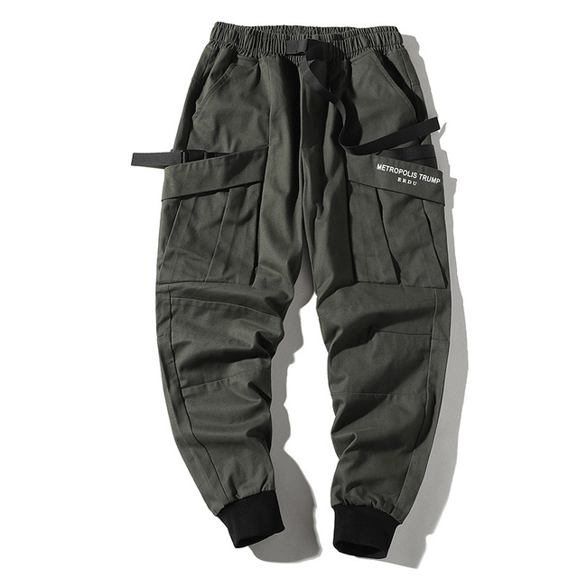 Pantalones Cargo Ajustados Para Hombre Pantalon De Estilo Urbano Hip Hop Patchwork Con Bolsillo Para Correr Pantalones Informales Aliexpress