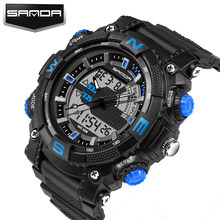 SANDA Marke Mode Beiläufige Uhr Männer Sport Military Shock herren Luxus Analog Quarz Led Digital Uhren 743 Reloj Hombre(China)
