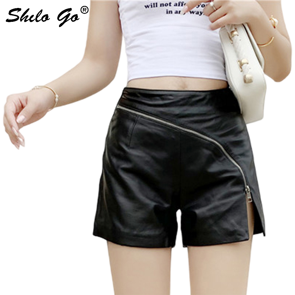 Genuine Leather Shorts Sexy Minimalist Cross Zip Front High Waist Sheepskin Hot Shorts Women Autumn Winter Casual Mini Shorts