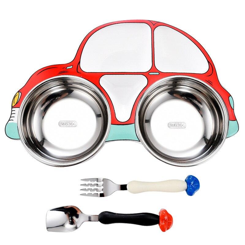 3Pcs/set Baby Tableware Set Stainless Steel Car Model Tableware Set For Kids Toddler Dinnerware Feeding Bowl Separation Plate