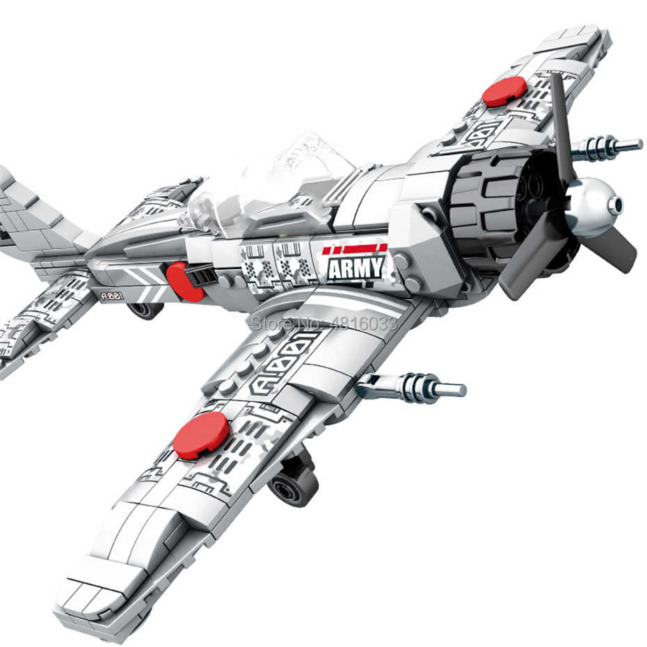 Army World War Aircraft A6M Zero Fighter compatible legoingly Military ww2 Model Building Block Toys For Kids Gift