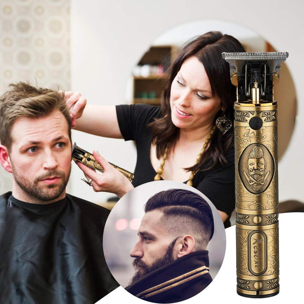 USB Rechargeable T9 Baldheaded Hair Clipper Electric Hair Trimmer Cordless Shaver Trimmer 0mm Men Barber Hair Cutting Machine