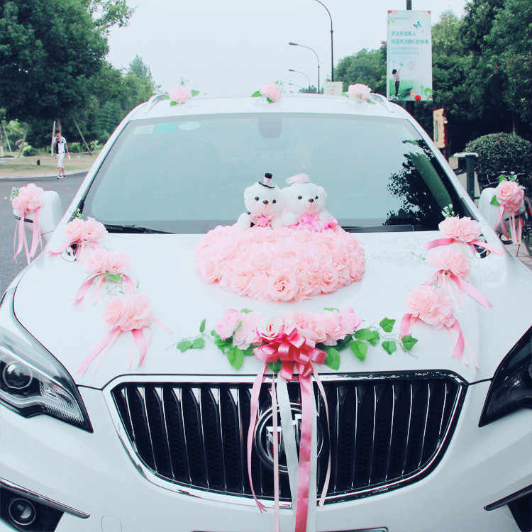 2019 Wedding Car Decoration Flowers Fake Flowers Rose With Bear Silk Flowers Wedding Party Decorative Artificial Wreath Garland Artificial Dried Flowers Aliexpress